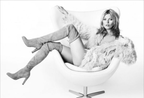 Kate Moss. High Boots: from Stuart Weitzman advert