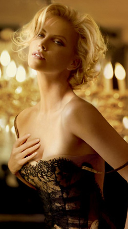 Charlize Theron, Lingerie, sexy, blonde, Actress