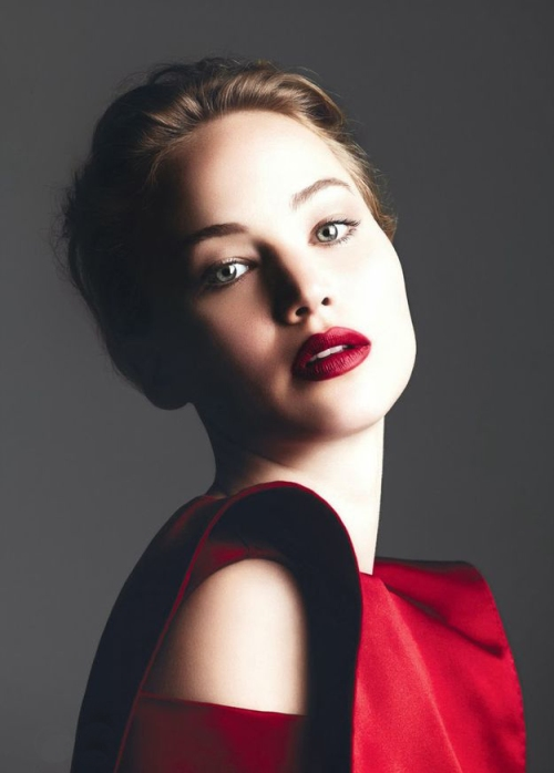 Jennifer Lawrence, red lips, red lipstick, sexy, actress, model, top model, hollywood, fashion, make up, Dresslikeabitch.com, dress like a bitch