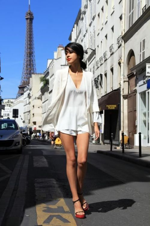 YSL shoes, Kate Moss for Topshop blazer, Zara blouse, American Apparel white shorts, Dress, Legs, High Hills, Shoes, Woman, Model, Celebrity, Actress, Hollywood