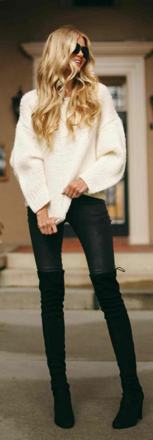 Barefoot Blonde. Sweatshirts: The Dreslyn, Jeans: Anine Bing, High Boots: Stuart Weitzman